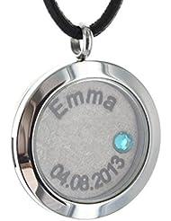 Area17 Mutterschmuck Medaillon - Edelstahl Medallion mit Geburtsstein und Kette - Arena - inkl. Wunsch Gravur -