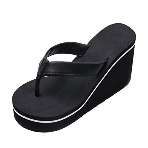Yiiquanan Infradito Donna, Sandali da Spiaggia con Tacco Zeppa Estive Elegant Pantofole Ciabatte Mare Scarpe (Nero, Asia S)