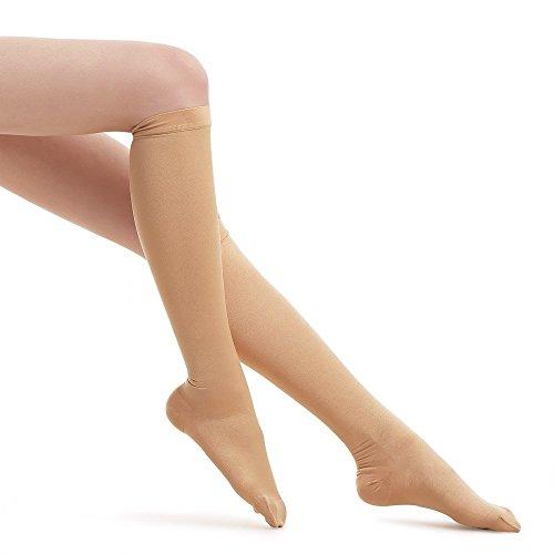 FYTTO 1020 blickdichte Kompressionsstrümpfe – Klasse 1 – kniehohe Stützstrümpfe | medizinische Kompressionssocken mit abgestufter Kompression 15 – 20 mmHg | 100 DEN | gegen Krampfadern, Reisethrombose und geschwollene Beine | Hautfarben | L