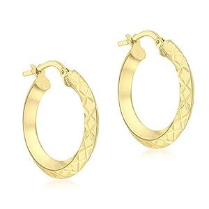Carissima Gold Damen 21 mm Diamantschliff Quadratische Tube Creole Ohrringe 9k (375) Gold