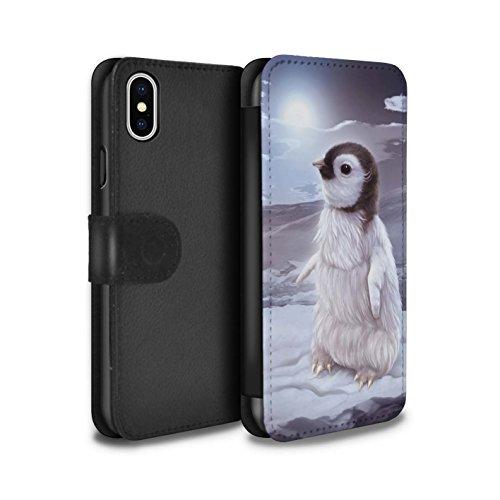 Offiziell Elena Dudina PU-Leder Hülle/Case/Tasche/Cover für Apple iPhone X/10 / Waldpaar/Hase Muster / Die Tiere Kollektion Der Reisende/Pinguin