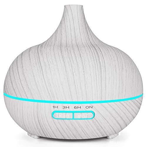 SODIAL 400 Ml de Humidificador de Aire EléCtrico UltrasóNico Difusor de Aceite de Aroma Blanco Grano...