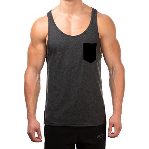 SMILODOX Tank Top Herren mit Brustasche | Muskelshirt ideal für Sport Gym Fitness & Bodybuilding | Muscle Shirt - Stringer - Tanktop - Unterhemd - Achselshirt, Größe:S, Farbe:Anthrazit/Schwarz (Ideales Training)