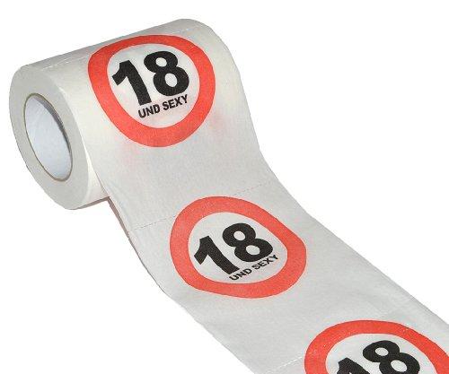 Unbekannt Toilettenpapier 25m - 18. Geburtstag / achtzehn und Sexy - Verkehrsschild WC Klopapier Klopapier lustig Klorolle große Rolle (Achtzehnten Geburtstag Dekorationen)