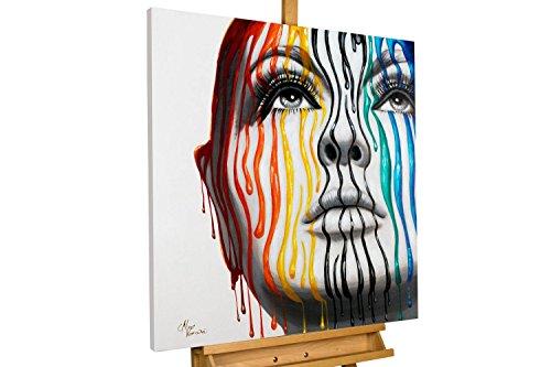 Contour Gesicht (KunstLoft® Acryl Gemälde 'Striped Contours' 80x80cm | original handgemalte Leinwand Bilder XXL | Frau Gesicht Farben Bunt Streifen | Wandbild Acrylbild Moderne Kunst einteilig mit Rahmen)