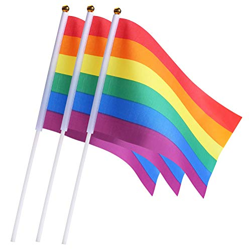 Sunshane Gay Pride Flags Mini kleine LGBT Rainbow Stick Flags für Rainbow Pride Parade Festival Party Dekorationen (60, Rainbow)