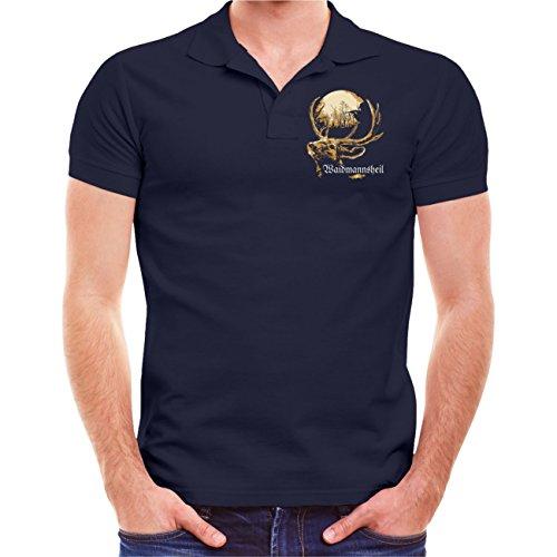 Männer und Herren POLO Shirt Jäger Problem - Lösung (mit Rückendruck) Dunkelblau