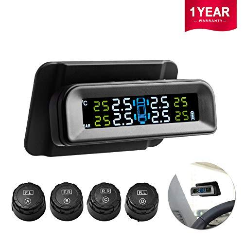 Favoto Auto TPMS Reifendruck Kontrolle 1-5 Bar Solar Reifendruckmesser mit 4 Externe Sensoren, LCD Display auf Windschutzscheibe (Reifendruck und Temperatur anzeigen) für Auto, SUV, KFZ