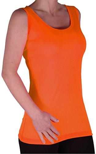 EyeCatch TM - Débardeur long cottelé fines bretelles - Uma - Femme - Grandes Tailles Neon Orange