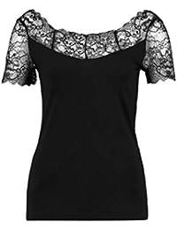 Anna Field Spitzenshirt für Damen – Süßes Spitzentop - T-Shirt mit Spitze - Jersey Damentop – Kurzarmshirt mit Spitzenkante - Kurzarm Shirt elegant