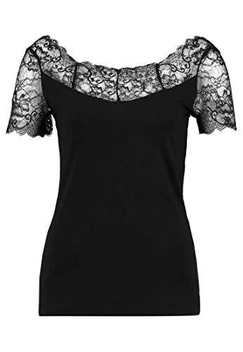 funktionsbluse damen kurzarm Anna Field Spitzenshirt Damen - Jerseytop mit Spitze - Kurzarm Shirt elegant in Schwarz, Größe 38