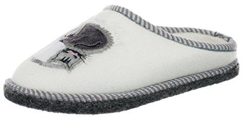 Brandsseller Kinder Fleece Hauspantolette Hausschuh Schluppen Pantoffeln - mit Motiv Katzen/Dream Team - Farbe: Weiß - Größe: 33