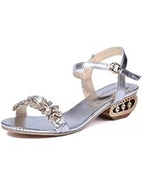 Mine Tom Mujer Elegante Verano Sandalias Diamante De Imitación Sandalias Punta Abierta Zapatos De La Playa