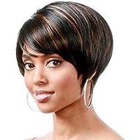 Wig Ombre Corta Parrucca Capelli Lisci Volume Parrucche Sintetiche per Le Donne  Parrucca Parte Centrale Parrucca c8719faa7560
