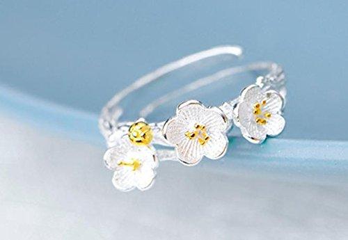 &QQ Fatto a mano, lucidato a mano argento sterling 925, Cherry Blossom forma anelli, gioielli, fresco, classico stile retrò cinese, regalo creativo