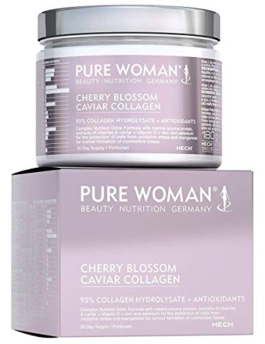Leistungsstarke Antioxidantien-formel (PURE WOMAN Cherry Blossom Caviar Marine Collagen Pulver 93%, hochdosierte Nährstoffpflege für die Haut, Kollagen-Antioxidantien-Komplex mit Q10, Zink & Vitamin D, Trink-Konzentrat, laktosefrei, 180 g)