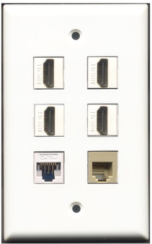 RiteAV-4Port HDMI 1RJ11, RJ12, beige 1Cat5e weiß Wall Plate 4 Port, Single Gang Keystone