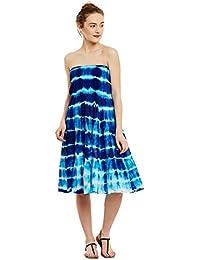 26cffac494c Ruhaan s Women s Cotton Blue And White Tye-dye Knee Length Tube Dress  (RU 5270)