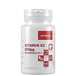 Vitamin K2 200 µg - 365 vegane Tabletten - Menaquinon MK7 natürlich Jahrespackung - ohne Magnesiumstearat - Made in Germany - Menachinon