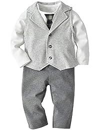 [Baby Jungen Anzug] Body Langarm mit Krawatte + Weste + Hose 3tlg Strick-Bekleidungsset Gentleman Taufe Anzug Set Babyanzug 90