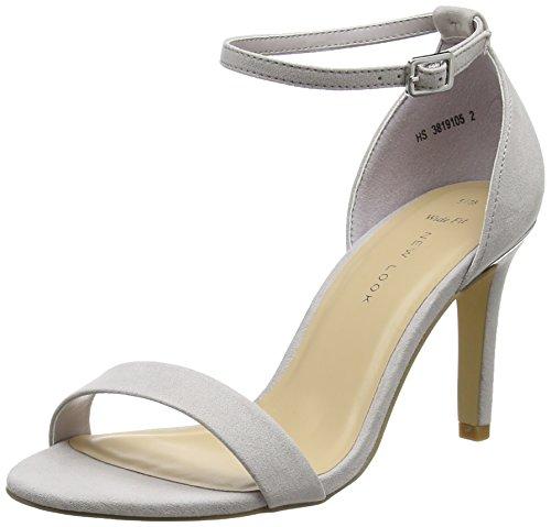 New Look Women's Sensible Open-Toe Heels, Grey (Light Grey), 8 UK 41 EU