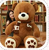 CGDZ 80-100cm 1m Riese gefüllt Großer Teddybär Böse Kuscheltiere Spielzeug Rosa Party Kinder Geburtstagsgeschenk Weihnachten Kissen Puppe Plüschtiere Dunkelbraun 100cm