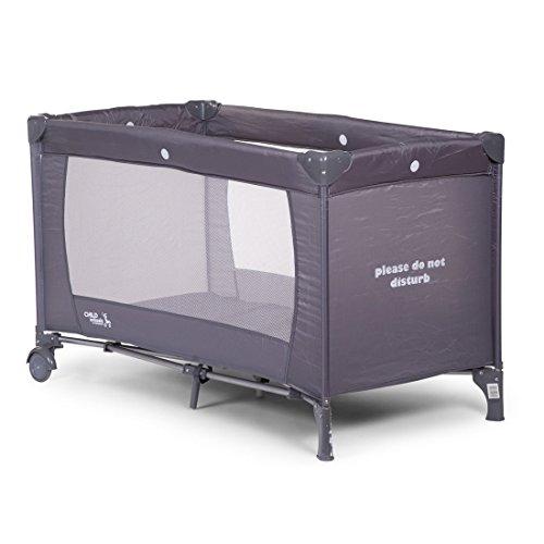 Salut Maman - Childhome- Klappbares Baby Reisebett Mit Rädern Und Bremsfunktion, 125 x 72 x 75 cm, Grau