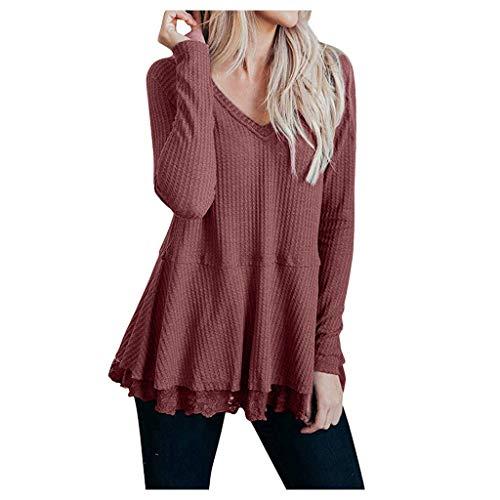 Toasye Fashion V-Ausschnitt blusen große größen Volltonfarbe Lace Panel Shirt mit Gummizug am saum Langarm Top Pullover Damen v Ausschnitt