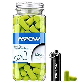 Mpow Foam Earplug for Noise Reduction 34dB NRR for Hearing Protection 60 Pairs with Aluminum Carry Case