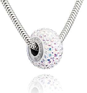 Collier en argent avec des éléments Swarovski d'origine Perle pendentif, Crystal AB, avec Box, un cadeau parfait pour une femme ou une petite amie