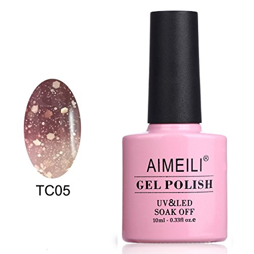 AIMEILI Smalto Semipermente per Unghie in Gel UV LED Smalti per Unghie Colori per Manicure che Cambia Colore con la Temperatura - Chocolate Spark (TC05) 10ml