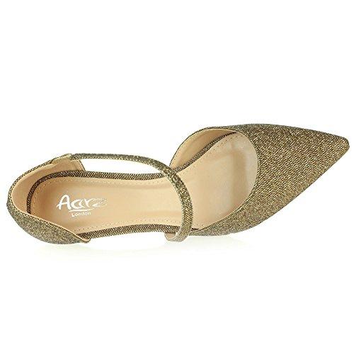 Femmes Dames Soir Mariage Fête Bal de promo Bout pointu Milieu Talon de chaton Des sandales Chaussures Taille Marron