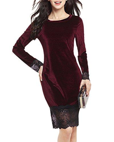 Femmes Sans Manches V Cou Emballé Robe Cocktail Portefeuille Velours Crayon Soirée Décolleté Dentelle à Coutures Harnais Robe Vin Rouge