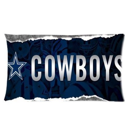 Custom Cotton & Polyester Soft Rectangle Zippered Pillow Case Cover 20X36 (Two Sides) - NFL Dallas Cowboys Football Rugby Logo Dark Navy Star Personalized Pillowcase Forever Collectibles Souvenir