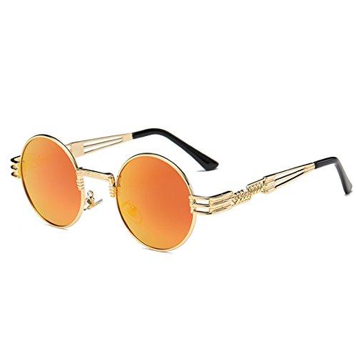 QQBL Runde Mode Persönlichkeit TAC Polarisierte Metall UV400 Sichtbares Licht Perspektive 99 (%) Allgemeine Sonnenbrille Für Männer und Frauen,Orange