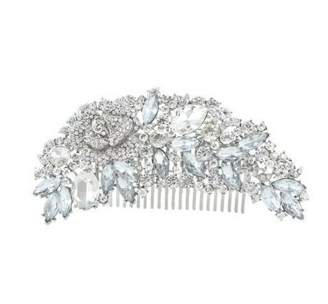 Bridal Rhinestones Flower Hair Comb by Sunshinesmile