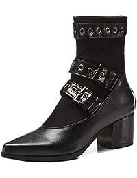 7165a6194b04 Stiefeletten für Damen,Mode Schnalle Riemen Pointed Toe Biker Boots  Reißverschluss Kurze Stiefel Schwarz