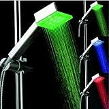LED Duschkopf mit automatischem 3 Farbwechsel Temperaturanzeige für Gute-Laune beim Duschen Multi colour Flashing LED-Regenbogen Effekt