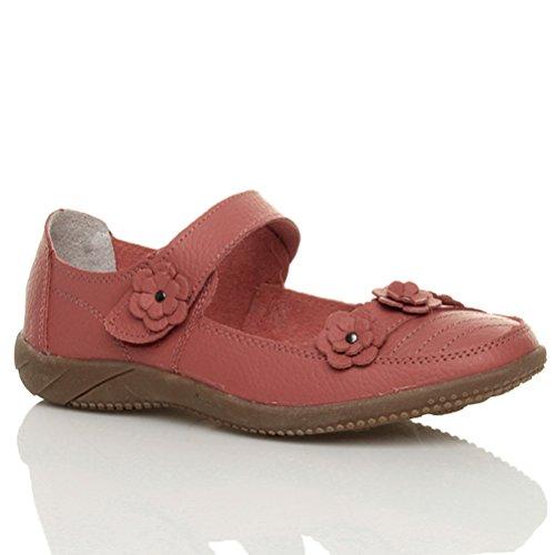 Damen Flach Kleiner Absatz Komfort Klettverschluss Mary Jane Wanderschuhe Größe Koralle rot rosa