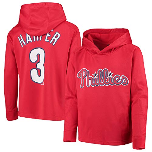 Outerstuff MLB Youth 8-20 Polyester Performance Player Name & Nummer Pullover Sweatshirt Hoodie, Jungen, Bryce Harper Philadelphia Phillies Red, X-Large 18/20 US (Hoodie Kinder Name)