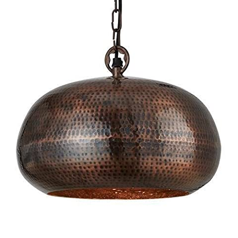 Hammered Antique Bronze 1 Lamp Ellipse Pendant Light 32cm