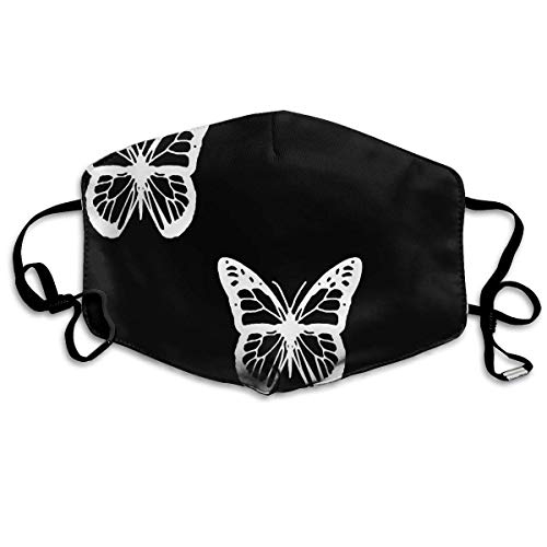 Erwachsene, Face Masks Anti-Dust Mouth Cover Awesome Black And White Butterflies Washable And Reusable Mask Warm Windproof For Women Men Boys Girls Kids ()