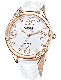 Reloj mujer blanco brillantes cristal reloj a la Moda con Correa de cuero blanco