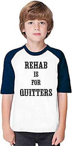 Rehab Is For Quitters Soft Material Baseball Kids T-Shirt by Benito Clothing - 100% Organic, Hypoallergenic Cotton- Casual & Sports Wear - Unisex for Boys and Girls 9-11 years