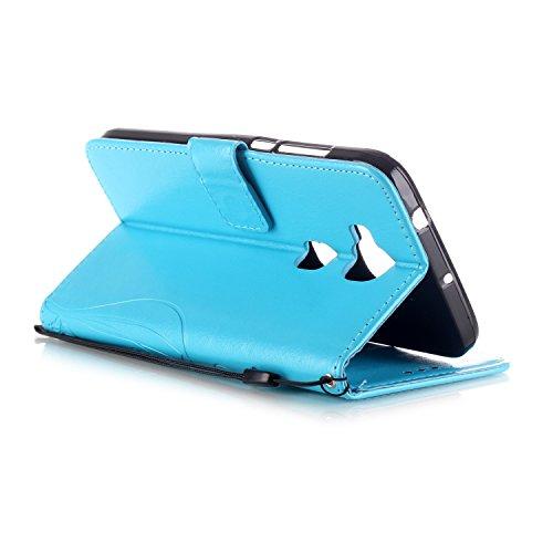 Coque pour Apple iPhone 5 5S,Housse en cuir pour Apple iPhone 5 5S,Ecoway Colorful imprimé étui en cuir PU Cuir Flip Magnétique Portefeuille Etui Housse de Protection Coque Étui Case Cover avec Stand  Papillon VI-Bleu