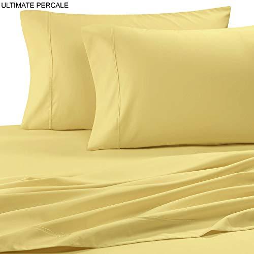 Ultimate Percale Bettlaken-Set aus Perkal, Fadenzahl 400, 100% Baumwolle, mit Kissenbezug, tiefer Tasche, inkl. knackigem und kühlem Kissenbezug-Set. Standard gelb -