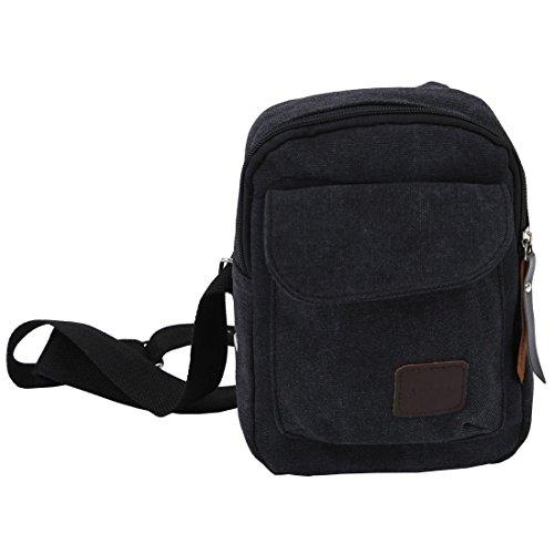 SODIAL(R) Tracolla casuale dellannata delle piccole tela di canapa degli uomini che escono il sacchetto del messaggero del sacchetto della bicicletta di Crossbody del sacchetto-caffe nero - nero