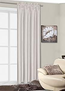 140x245 cm creme ecru Elfenbein Vorhang Vorhänge Kräuselband Fensterdekoration Gardine Blickdicht cream ecru ivory LUNA