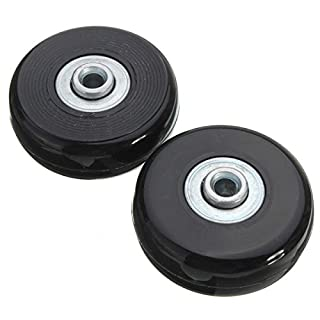 KUNSE 2pcs 50mm Black Luggage Suitcase Replacement Rubber Wheel Roller Suitcase Repair Parts