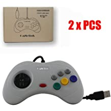 Childhood Gamelink Nuevo cojín atado con alambre de la alegría de Gamepad del regulador del USB 2PCS para el sistema Mac de la PC de Sega Saturn Gris